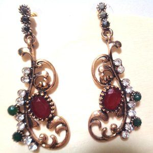 Vintage Art Deco Antique gold lady earring 5cm L